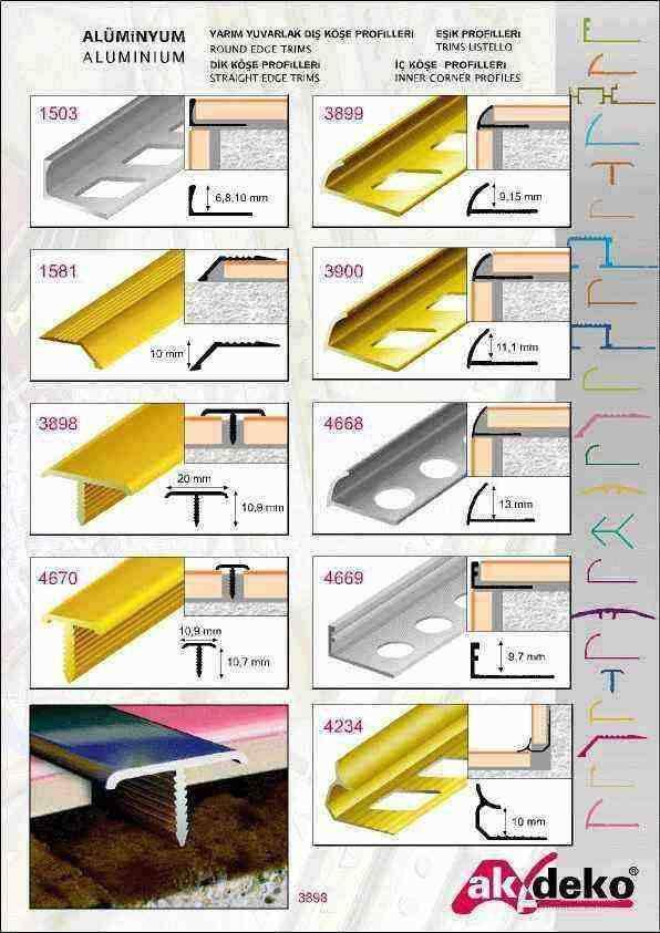 aluminium tile trim - tile trims - tile edging trim - metal tile trim
