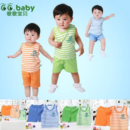 100%Cotton Fashion Striped Summer Baby Boy Clothing Set Toddler Baby Girl Clothes Sets