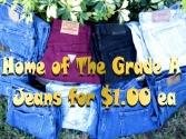 Blue Jeans $1.00 ea, Levi's Jeans $4.00 ea, Summer Clothing $0.40, SweatShirts $0.40, Blouses $0.40,