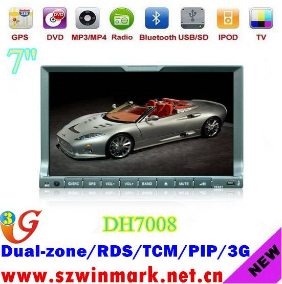 7inch Touch Screen Universal Car DVD Player with GPS, With GPS, IPOD, Wince6.0 OS DH7008