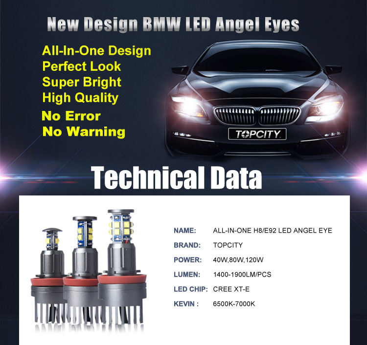 TOPCITY New Design: All-In-One H8 LED Angel Eyes