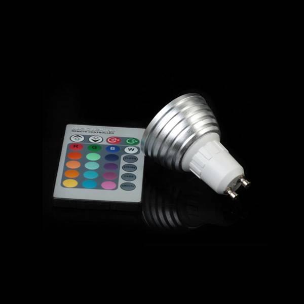 Hot sell GU10 3W RGB LED spotlight with IR remote control