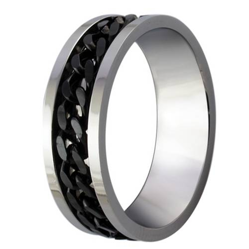 Mens stainless steel black chain ring