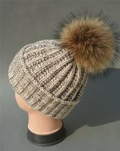 new 2016 Knitted kids wool caps with raccoon pom ball