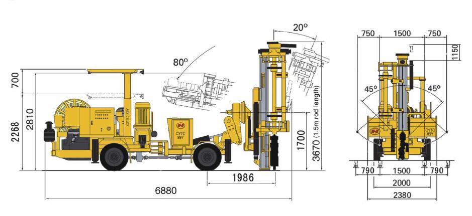 Hydraulic drilling rig for blasting hole