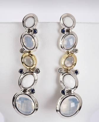 Blue Oval Mosaic Drop Earrings