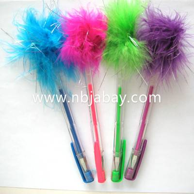 Color gel pens with marabou topper