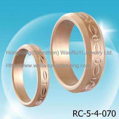 Rose Gold Plated Carving Tungsten Wedding Ring Couple's Ring