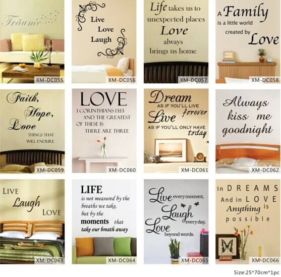 France Romantic Letter Printed Home Decorative Wall Sticker