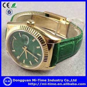 Fashion quartz movt stainless steel genuine leather watch china factory wholesale