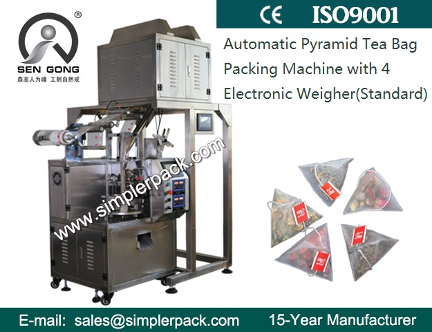 Triangle Tea Bag Packing Machine with Thread and Tag Nylon Mesh