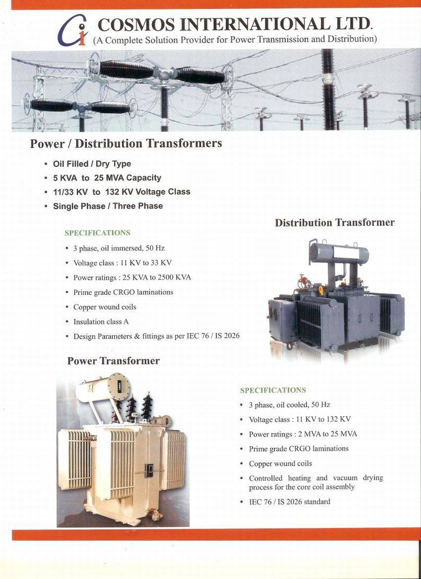 Manufacturer and Exporter of Power and Distribution Transformer