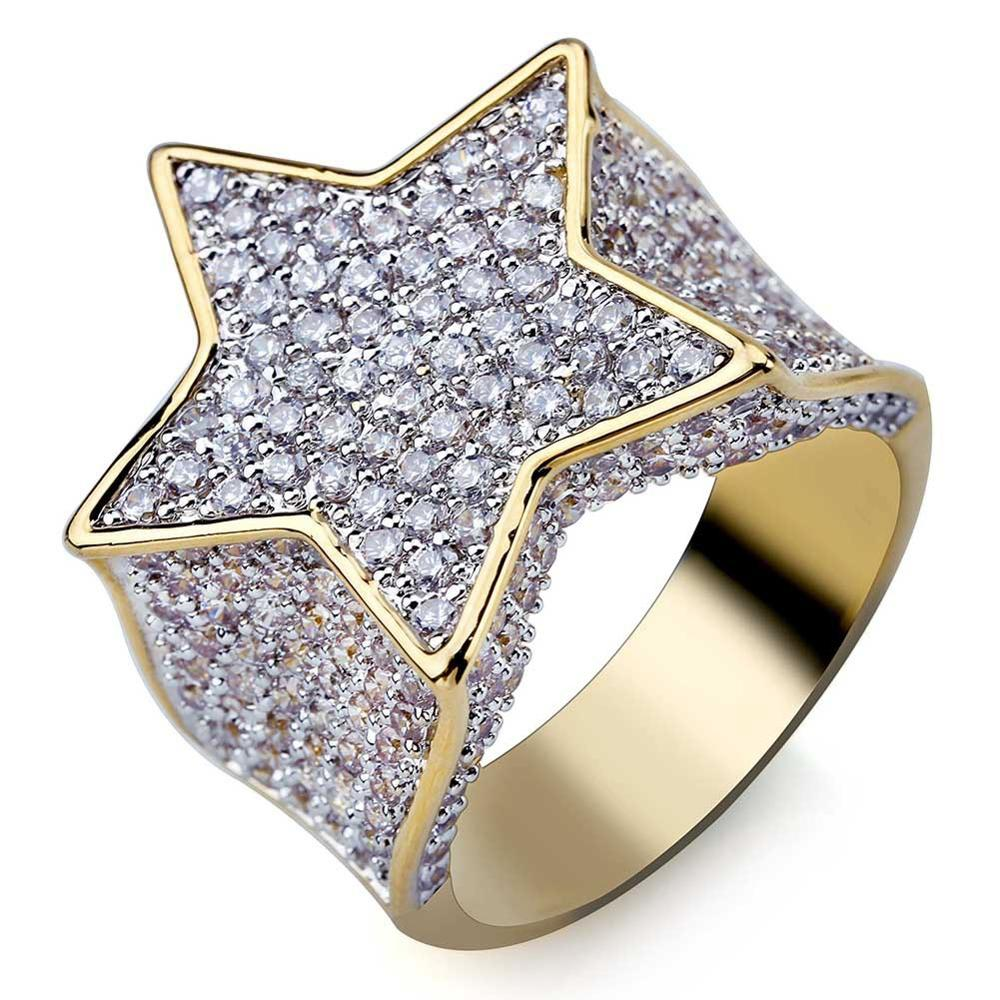 Fashion Star Rings Gold Silver Color Full Iced Cubic Zirconia Hiphop Ring Jewelry For Men And Women