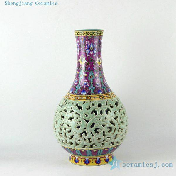 17inch High Quality Reproduction Hand Painted Hand Carved Qing Dynasty Reproduction Porcelain Vase