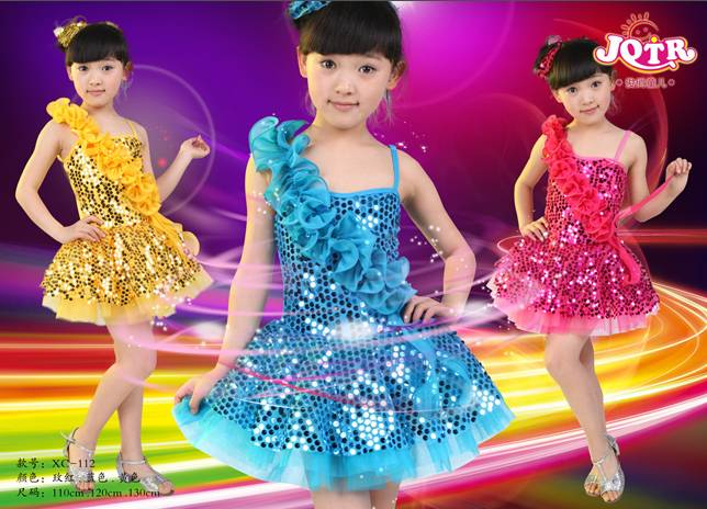 Children latin dance dress, girls latin dance costume