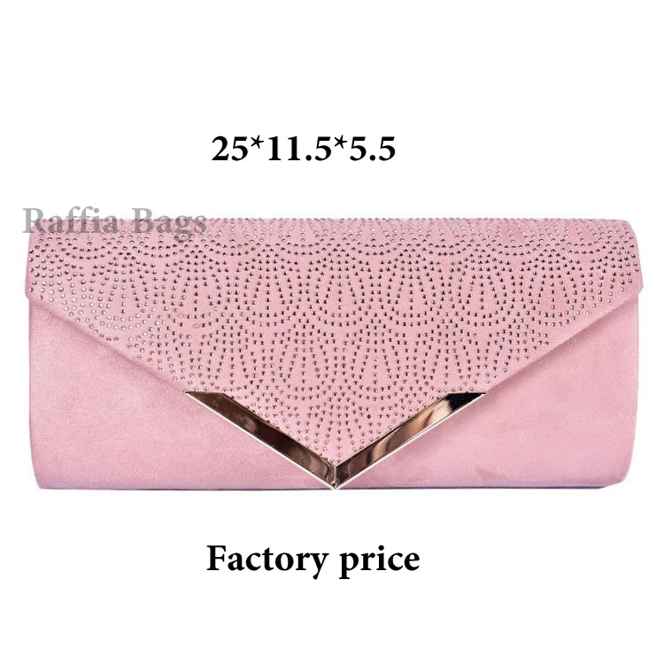 PU Rhinestone Flap Women Handbag Wedding Clutch Bag With Metal Bar & Chain