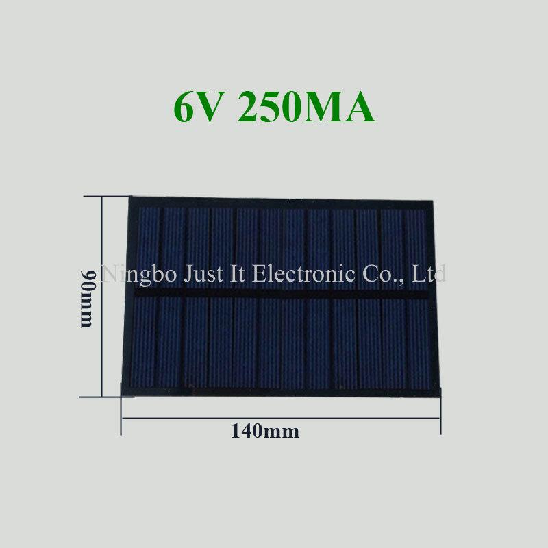 6V 250mA 1.5W 140x90mm PET Solar Panel