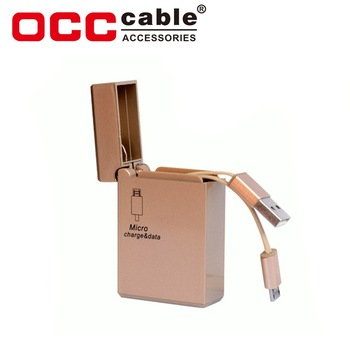 Special design creative gifts retractable usb cable zippo lighter shape usb cable for iphone android