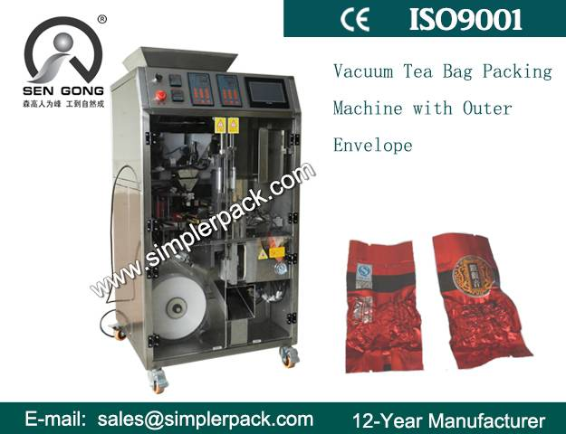 Vacuum Tea Bag Packing Machine with Outer Envelop
