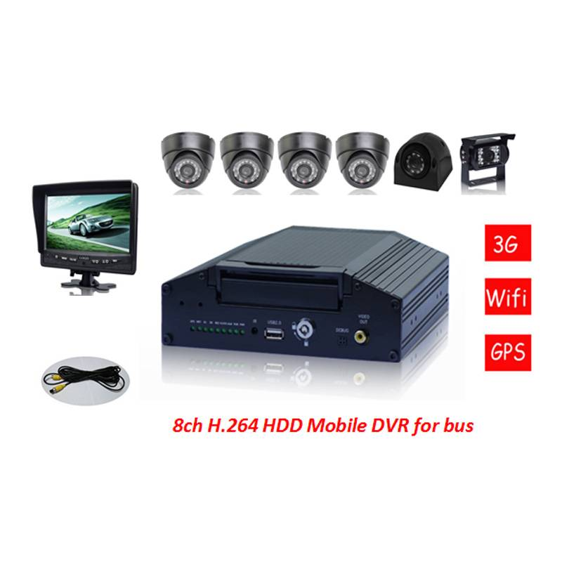 8CH Vehicle Mobile DVR with GPS Modules, Wifi Function, Used for car/truck/coach/bus/taxi