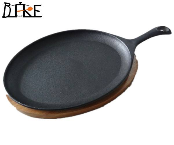 supplier of cast iron fajita pans with wooden