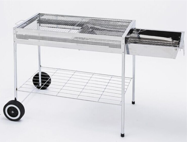 Easy moving charcoal bbq grill with storage rack