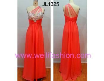 Long Beading Pleated Chiffon Net Evening Dresses JL1325