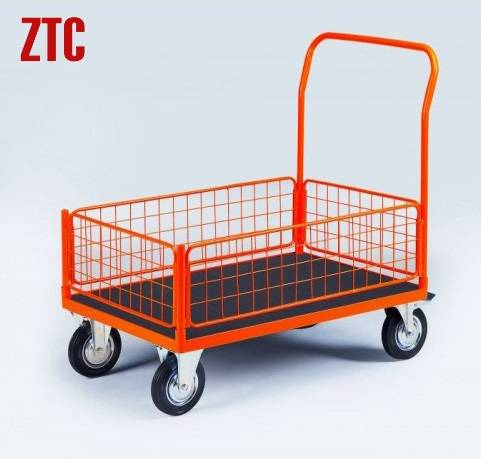 Industrial flatbed steel wire sides platform trolley