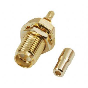 SMA55MW-137 R/P SMA RF Connector with Crimp Jack, Bulkhead for RG/137U Cable