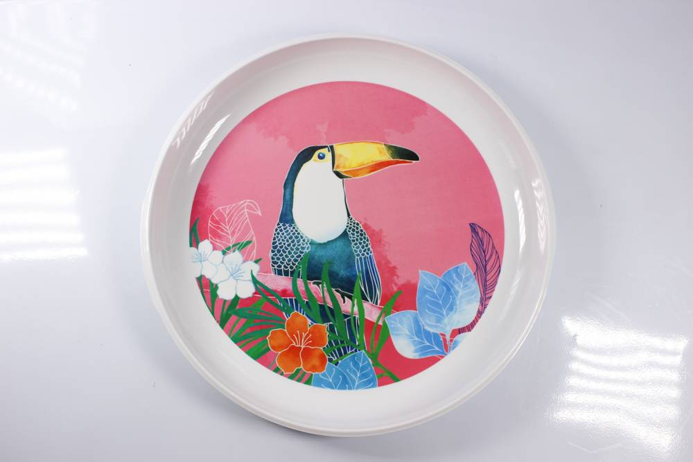 14'' double ear round melamine tray