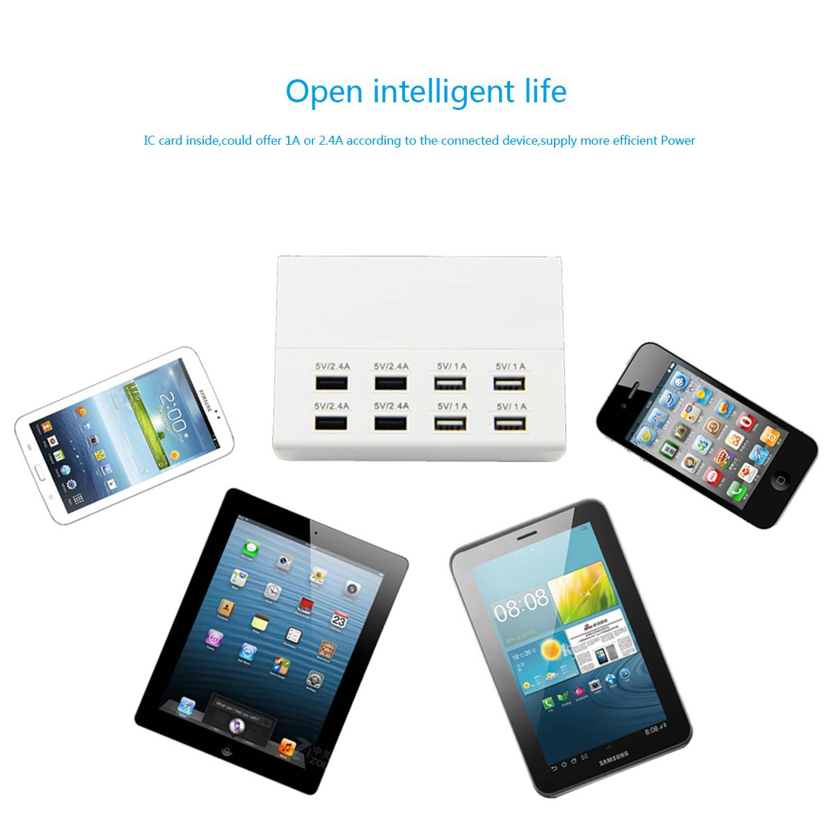 multi port usb charger 100-240v voltage usb charging hub 8 outlet output 2.4a 1a hotel charging solu