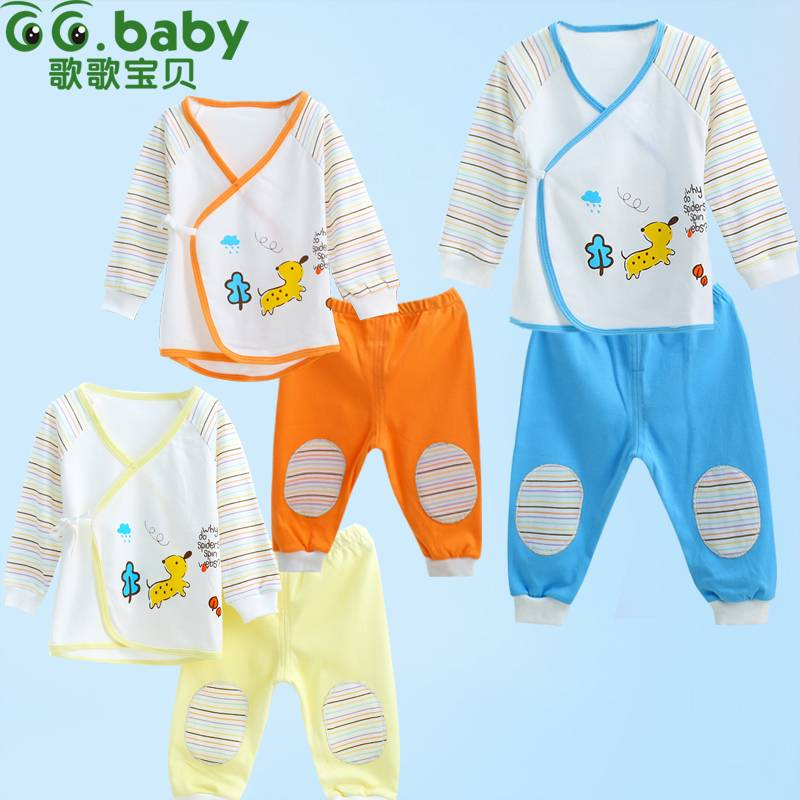 2015 Casual Striped Spring Autumn Baby Sets Three Color Newborn Clothing Sets Long Tops+Pants