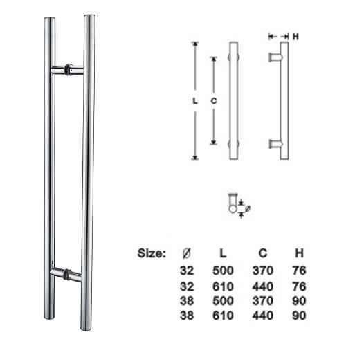 Glass Door Handles (stainless steel)