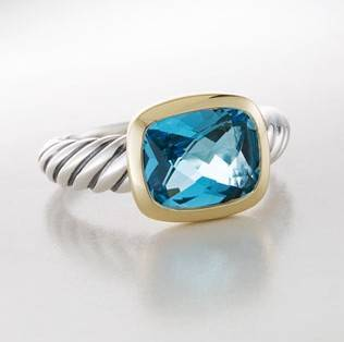 8X10MM Noblesse Plain Ring with Blue Topaz