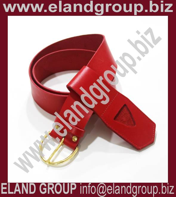 Masonic Regalia KT Red Leather Belt & Frog