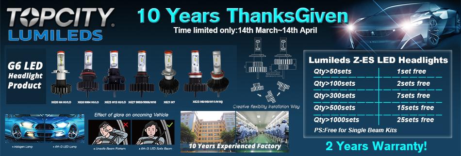 Celebrate TOPCITY the 10th anniversary Auto LED Headlights Factory ThanksGiven Kits