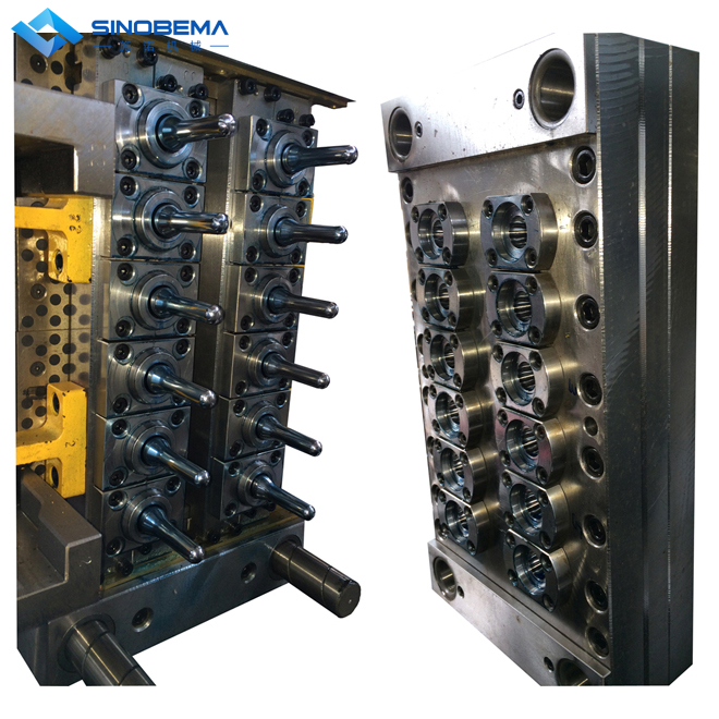 Injection mold, for PET preform, PP/PE caps