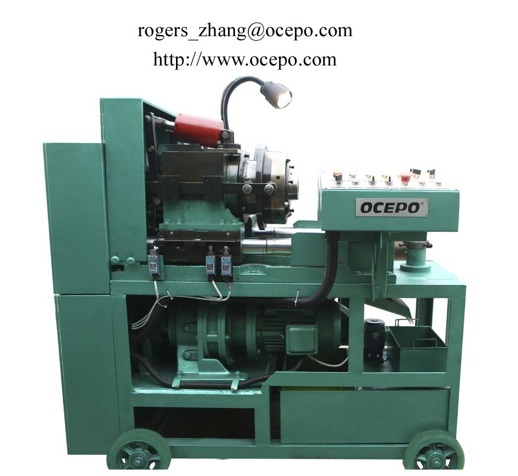 Full-automatic rebar upset forging and thread cutting machine