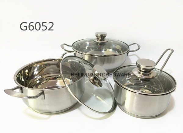 Newest 6PCS Stainless Steel Cookware Pot Set with glass lids