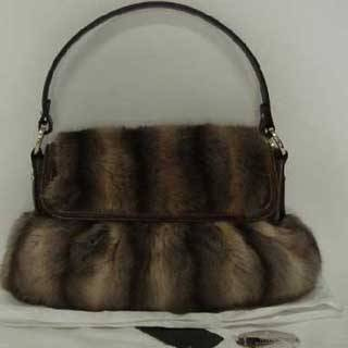 Brown Fox Fur Handbag