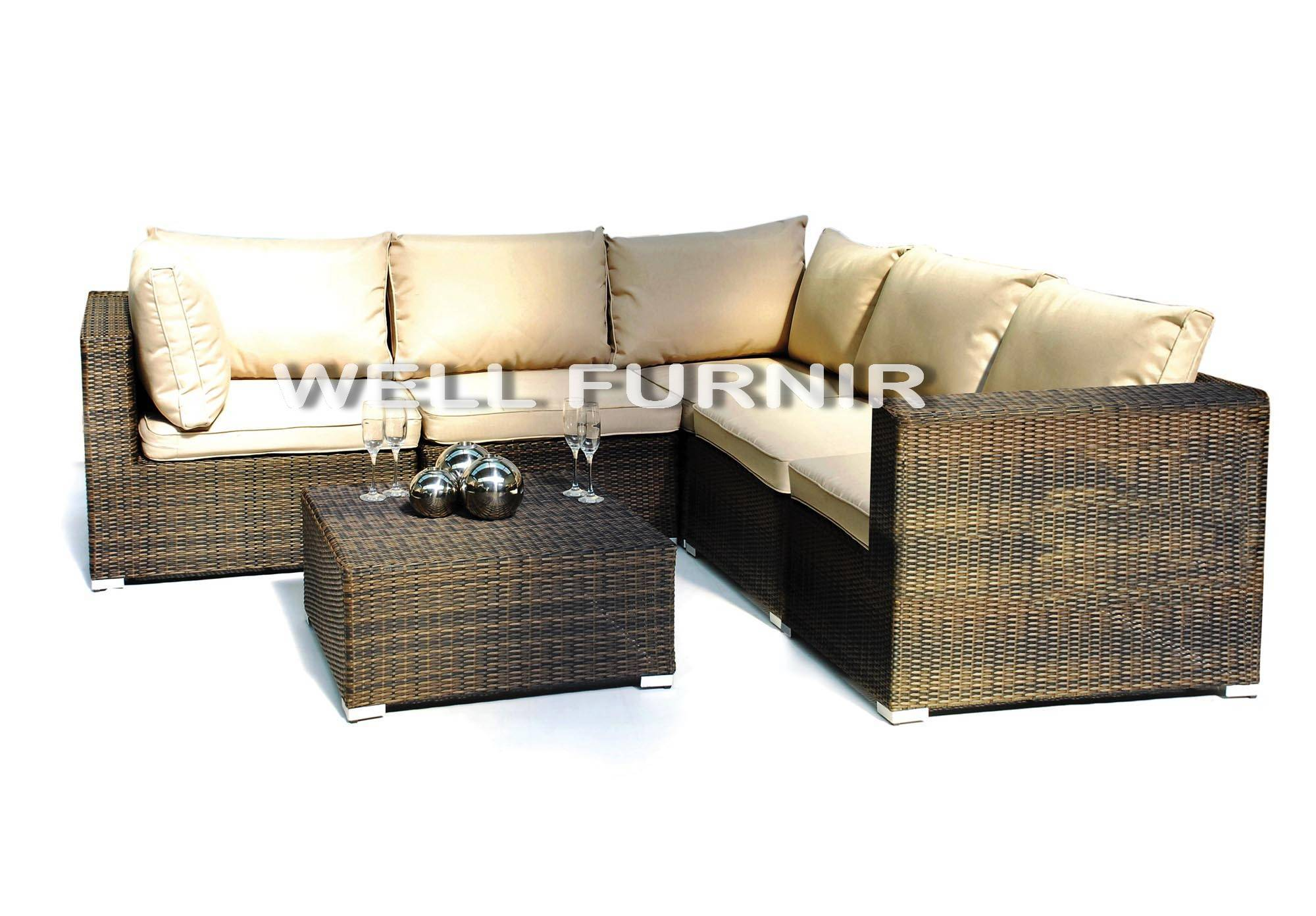 Well Furnir Company Limited Supply Rattan Wicker Sectional Sofa Set WF-21007