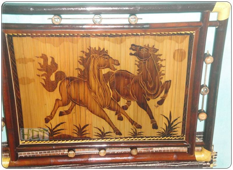 Handmade Bamboo Painting (Pair Of Horses Running Artwork)_ This Is Not Painted