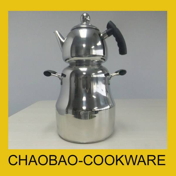 Stainless steel Russian samovar with tea pot