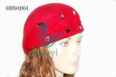 Best-selling ladies new design red wool felt beret hats