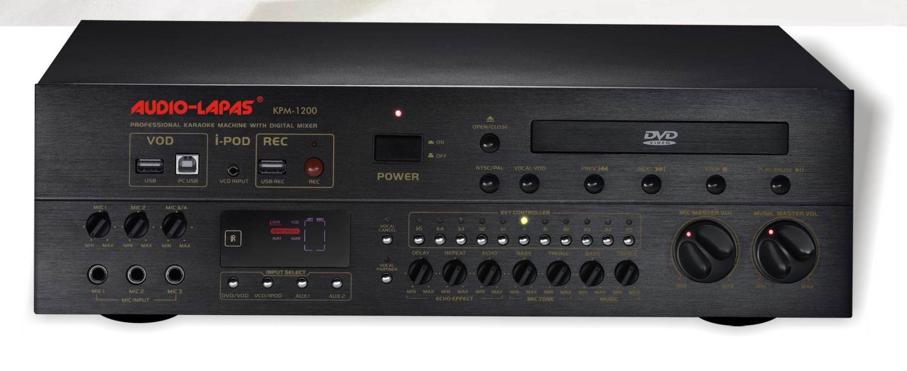 HDD Karaoke player with digital mixer