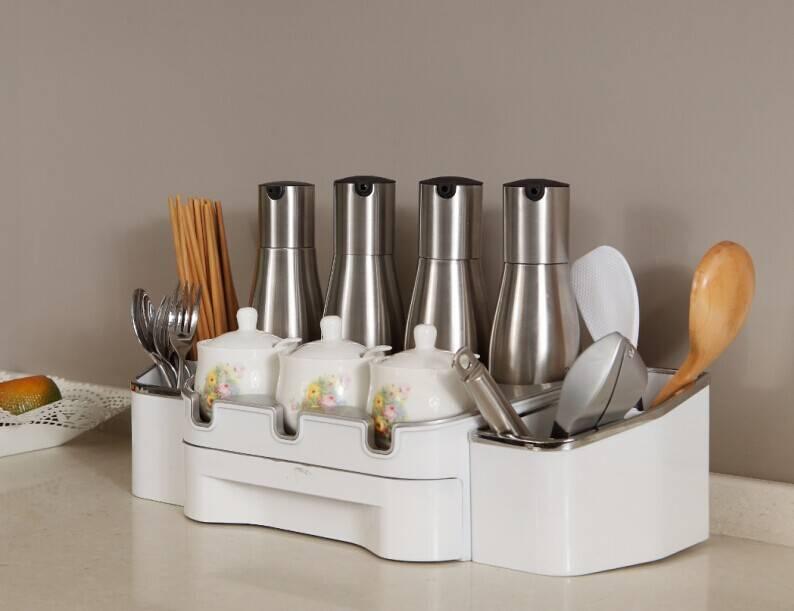 Multifunctional Seasonings Holder for Kitchen Table Storage