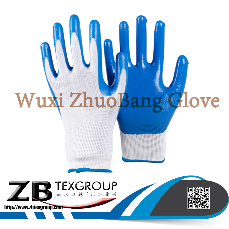 High Quality 10G Knitted liner Blue Nitrile Half Coated Safety hand Gloves for Construction Work on
