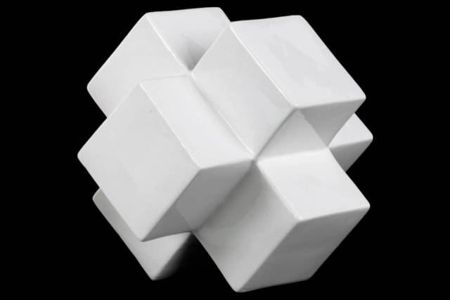 Ceramic Cross Cube Sculpture