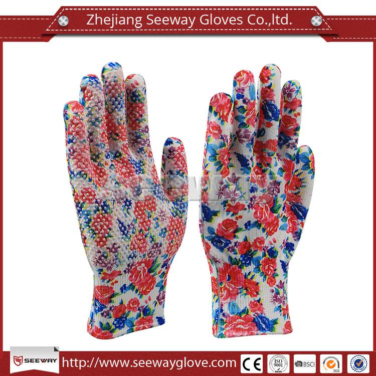 SeeWay Polyester Knitted with PVC Dots Flower Printing Hand Protection Garden Work gloves