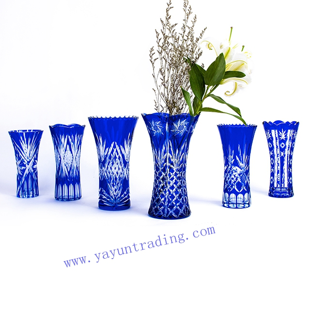 Cobalt Blue Hand Cut To Clear Cased Colored Glass Vase China Hand